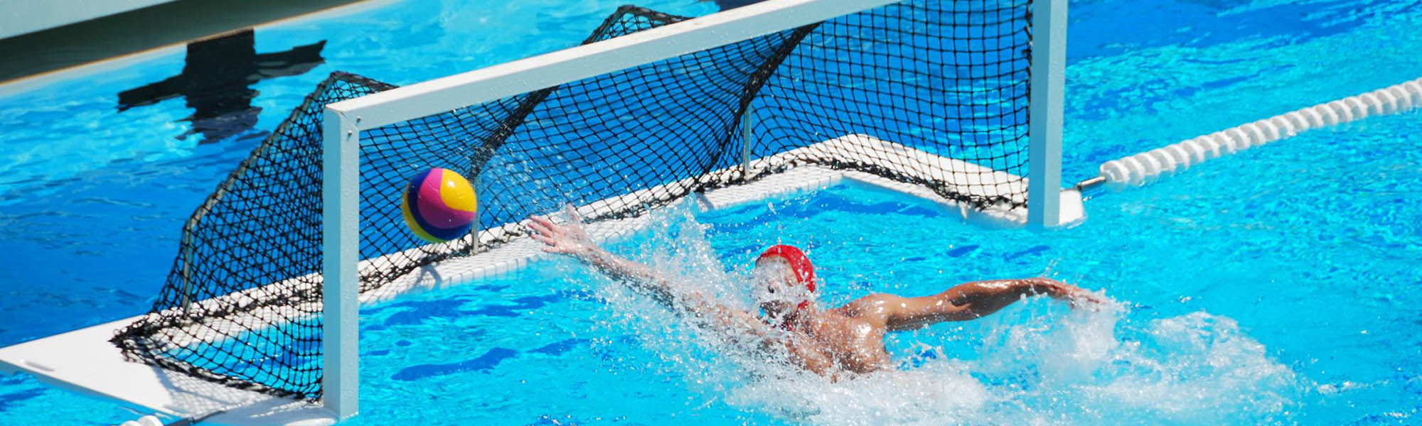 a water polo goal being scored